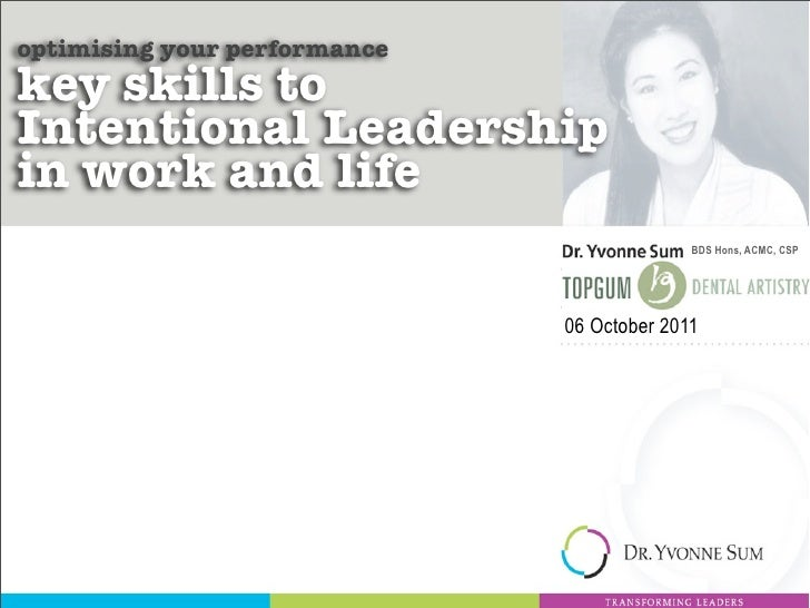 optimising your performancekey skills toIntentional Leadershipin work and life                                            ...