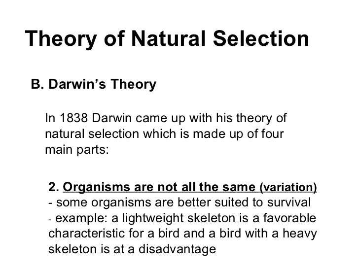 darwins theory of natural selection And now there was darwin's variational evolution, through natural selection  darwin's theory clearly emerged as the victor during the.