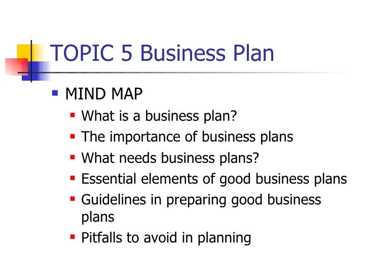 TOPIC 5 Business Plan <ul><li>MIND MAP </li></ul><ul><ul><li>What is a business plan? </li></ul></ul><ul><ul><li>The impor...