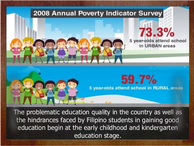 quality of education in the philippines Education in the philippines is provided by public and private schools, colleges,  universities,  to seal $86 million assistance to philippine education, particularly  the access to quality education in the autonomous region in muslim mindanao.