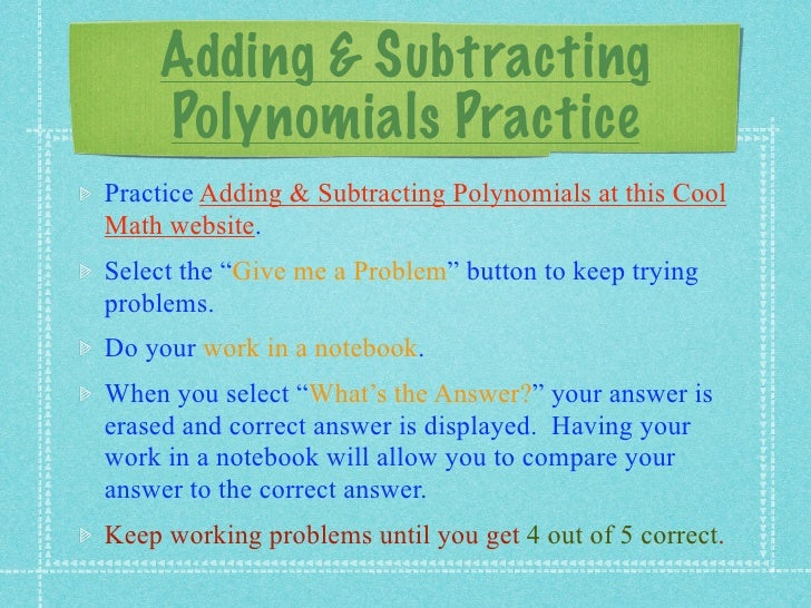 Adding And Subtracting Polynomials Worksheets Pdf Proga Info