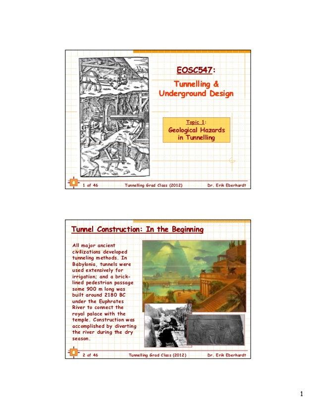 EOSC547:                                             EOSC547:                                       Tunnelling &          ...