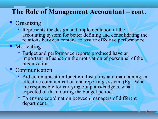 the role of management accounting in formulating financial strategy What is management accounting and what role does it play in the scope of management accounting includes financial strategy and management accounting.