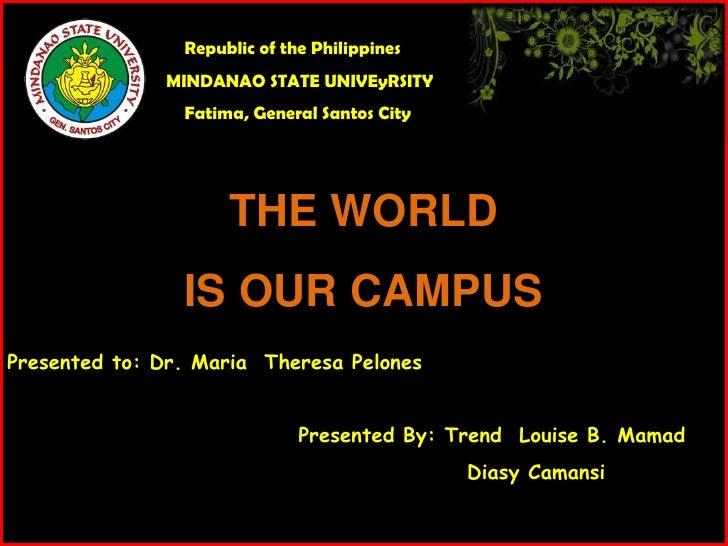 Republic of the Philippines              MINDANAO STATE UNIVEyRSITY                Fatima, General Santos City            ...