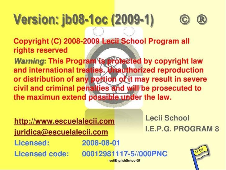 Version: jb08-1oc (2009-1)                              Copyright (C) 2008-2009 Lecii School Program all    rights reser...