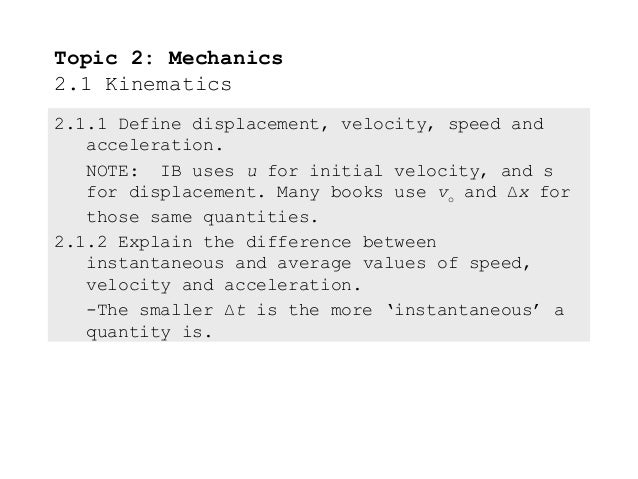 Topic 2: Mechanics2.1 Kinematics2.1.1 Define displacement, velocity, speed and   acceleration.   NOTE: IB uses u for initi...