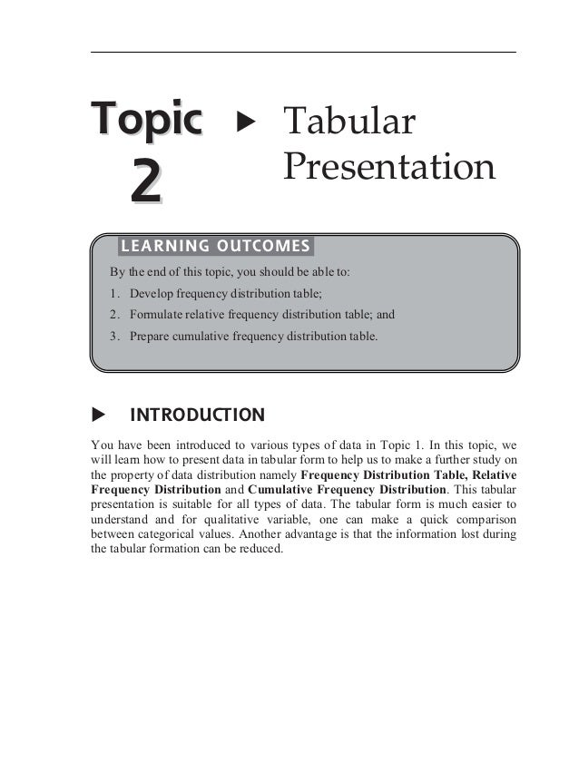 Topic  X  2  Tabular Presentation  LEARNING OUTCOMES By the end of this topic, you should be able to: 1. Develop frequency...