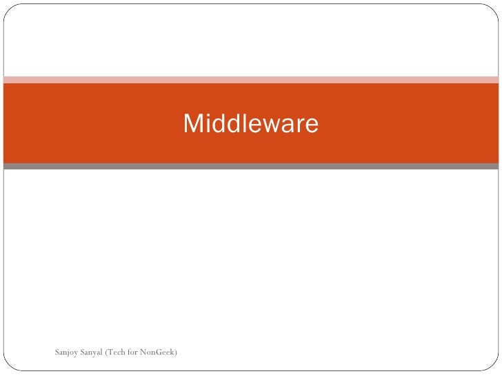 Middleware Sanjoy Sanyal (Tech for NonGeek)