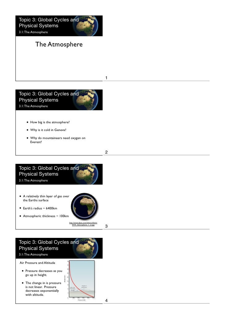 Topic 3: Global Cycles and Physical Systems 3.1: The Atmosphere              The Atmosphere                               ...
