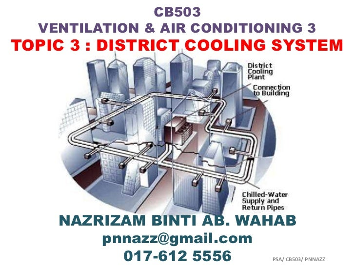 CB503  VENTILATION & AIR CONDITIONING 3TOPIC 3 : DISTRICT COOLING SYSTEM    NAZRIZAM BINTI AB. WAHAB        pnnazz@gmail.c...