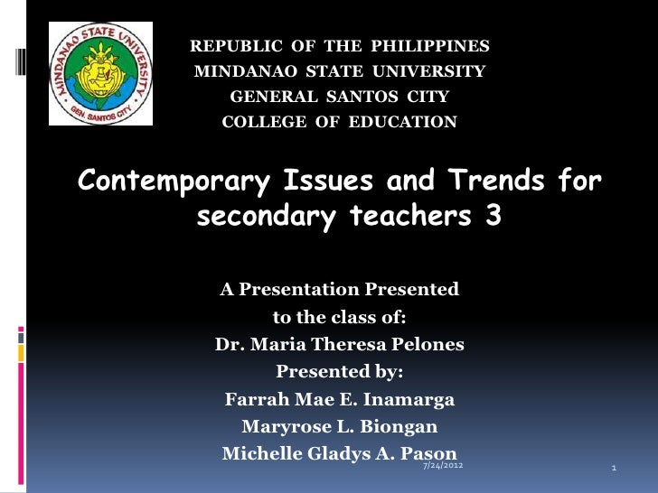 REPUBLIC OF THE PHILIPPINES       MINDANAO STATE UNIVERSITY          GENERAL SANTOS CITY         COLLEGE OF EDUCATIONConte...