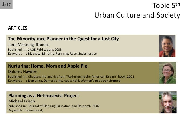 Urban culture and society (Topic 5th urban planning theory)
