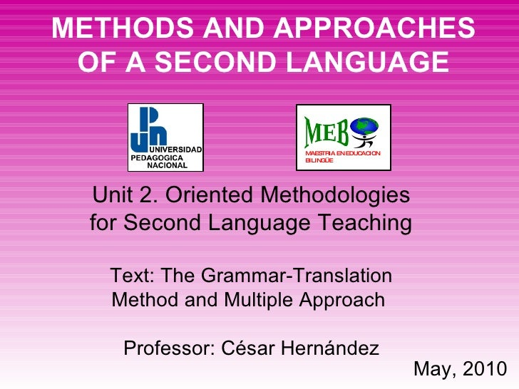 METHODS AND APPROACHES OF A SECOND LANGUAGE Unit 2.   Oriented Methodologies for Second Language Teaching Text: The Gramma...