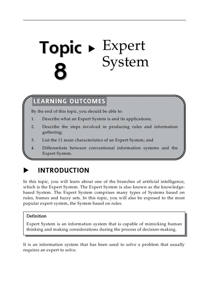 T o p ic                X       Expert                                         System               8     LEARNING OUTCOME...