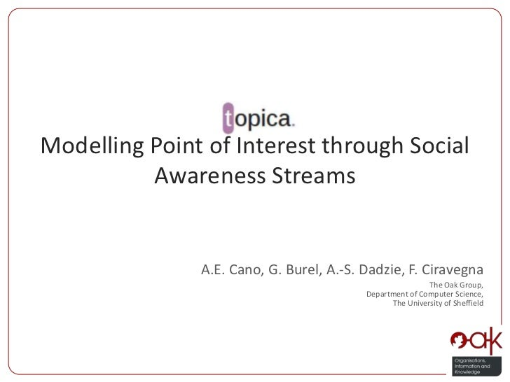 Modelling Point of Interest through Social Awareness Streams<br />A.E. Cano, G. Burel, A.-S. Dadzie, F. Ciravegna<br />The...