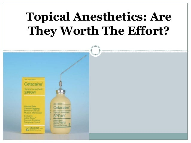 Topical Anesthetics: Are They Worth The Effort?