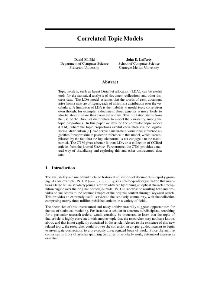 Correlated Topic Models                   David M. Blei                          John D. Lafferty           Department of ...