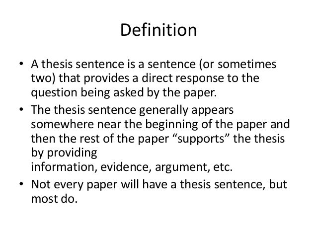 Writing A Thesis Sentence