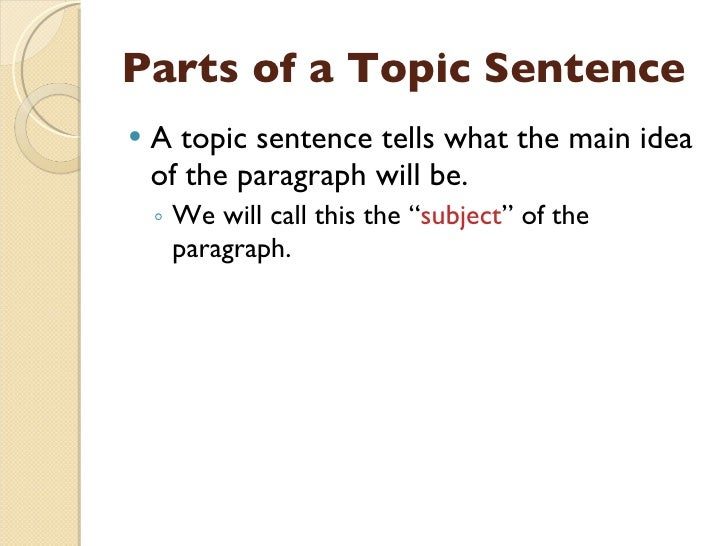 Literature topic sentence?