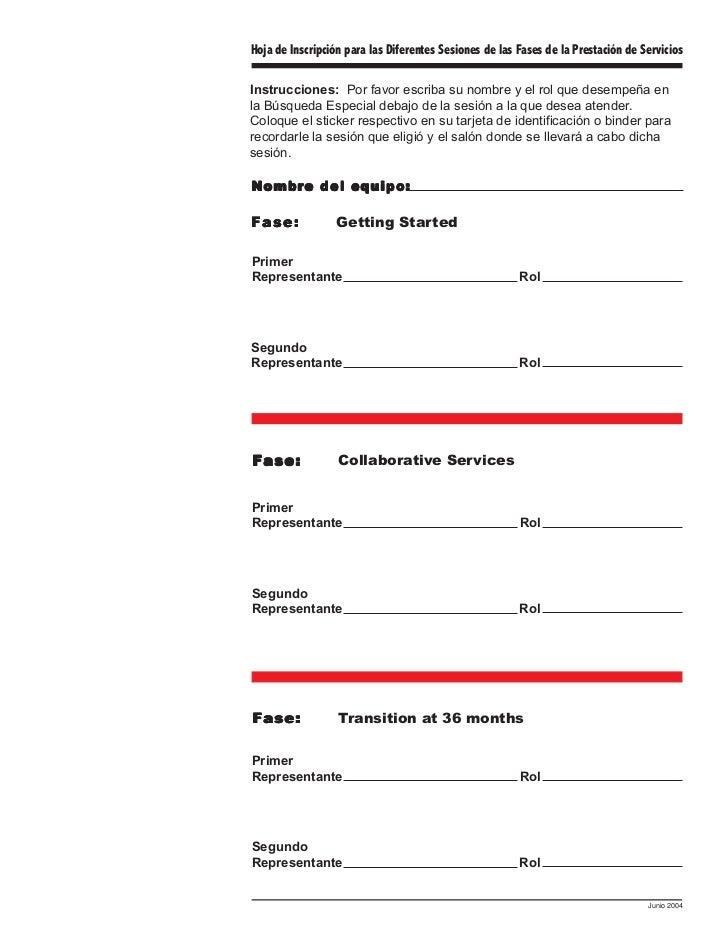 Hoja de Inscripción para las Diferentes Sesiones de las Fases de la Prestación de ServiciosInstrucciones: Por favor escrib...