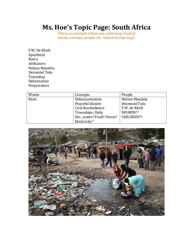 Ms. Hoe's Topic Page: South Africa                           This is an example of how you could...