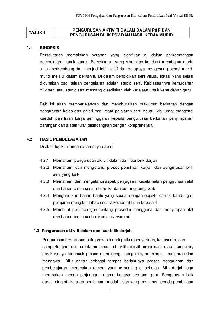 Topik 4  pengurusan akt. dalam pp dan pengurusan bilik psv dan hasil kerja murid