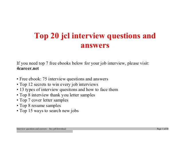 Top Jcl Interview Questions And Answers Job Interview Tips