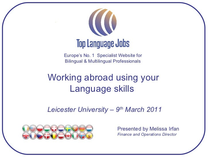 Europe's No. 1  Specialist Website for Bilingual & Multilingual Professionals Working abroad using your  Language skills  ...
