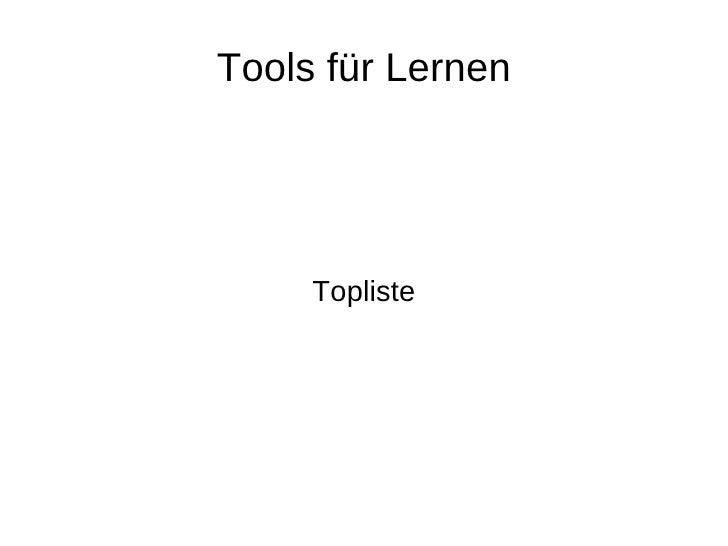 Tools für Lernen Topliste