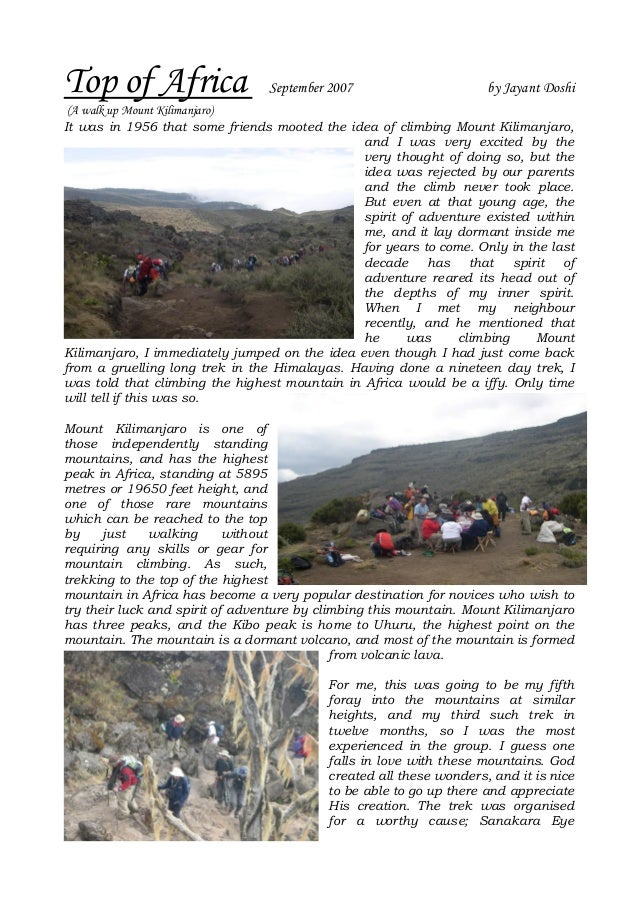 Top of Africa                    September 2007                      by Jayant Doshi (A walk up Mount Kilimanjaro)It was i...