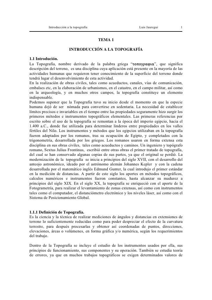 Introducción a la topografía                           Luis Jauregui            1                                         ...