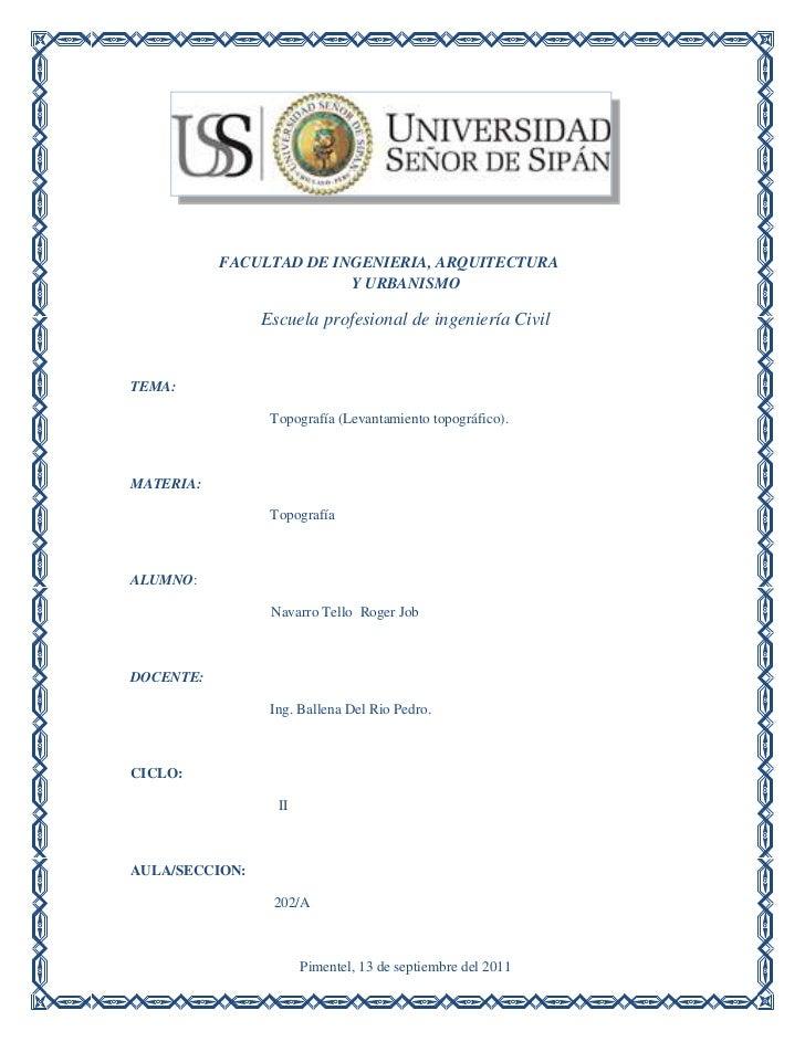 FACULTAD DE INGENIERIA, ARQUITECTURA                         Y URBANISMO                Escuela profesional de ingeniería ...