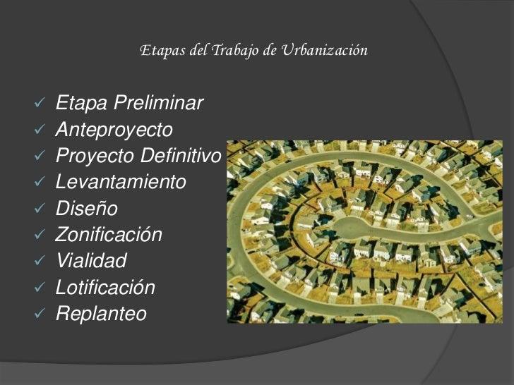 Etapas del Trabajo de Urbanización   Etapa Preliminar   Anteproyecto   Proyecto Definitivo   Levantamiento   Diseño ...
