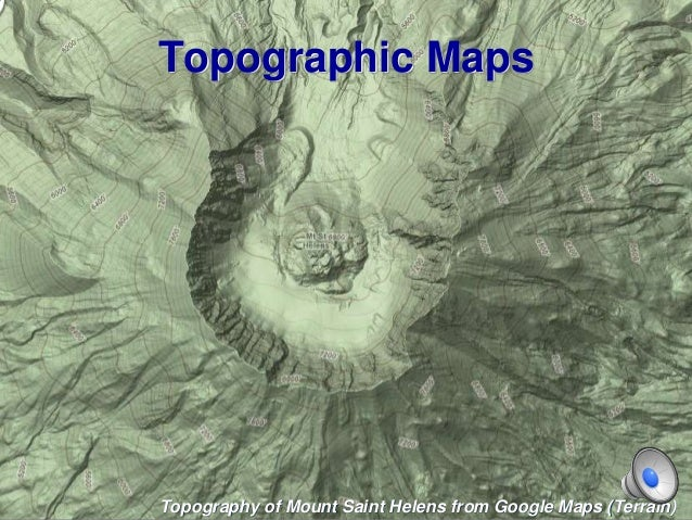 Topographic Maps Topography of Mount Saint Helens from Google Maps (Terrain)