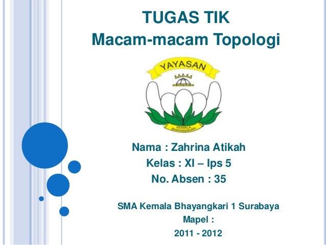 TUGAS TIKMacam-macam TopologiNama : Zahrina AtikahKelas : XI – Ips 5No. Absen : 35SMA Kemala Bhayangkari 1 SurabayaMapel :...
