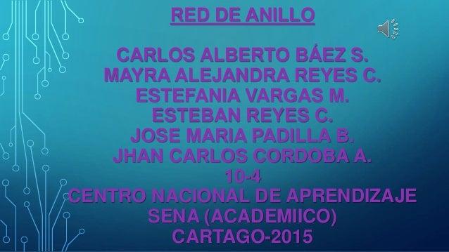 RED DE ANILLO CARLOS ALBERTO BÁEZ S. MAYRA ALEJANDRA REYES C. ESTEFANIA VARGAS M. ESTEBAN REYES C. JOSE MARIA PADILLA B. J...