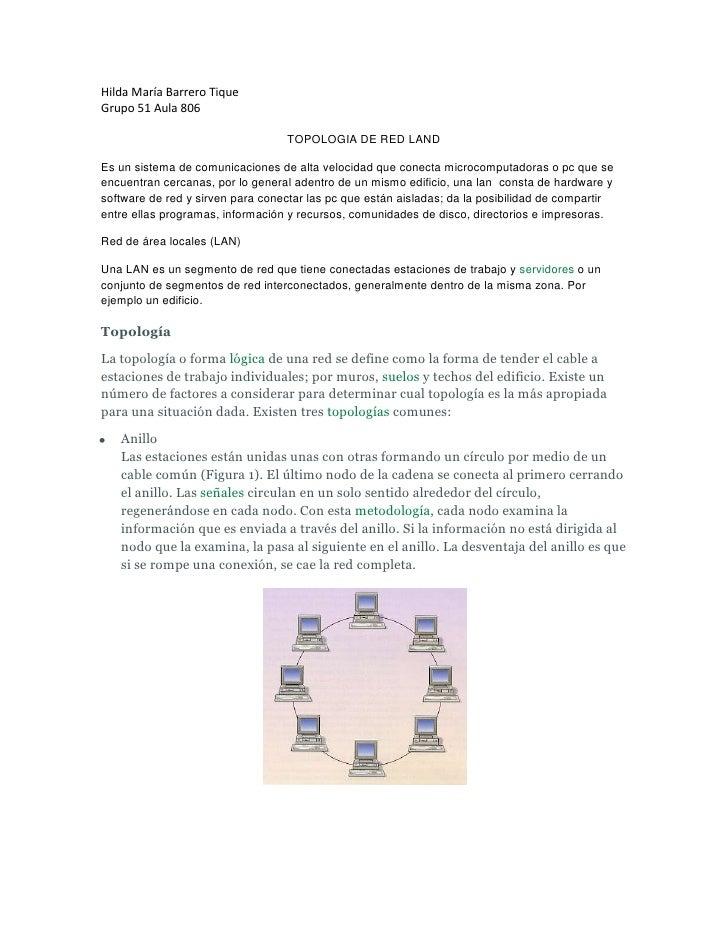 Hilda María Barrero Tique<br />Grupo 51 Aula 806<br />TOPOLOGIA DE RED LAND<br />Es un sistema de comunicaciones de alta v...