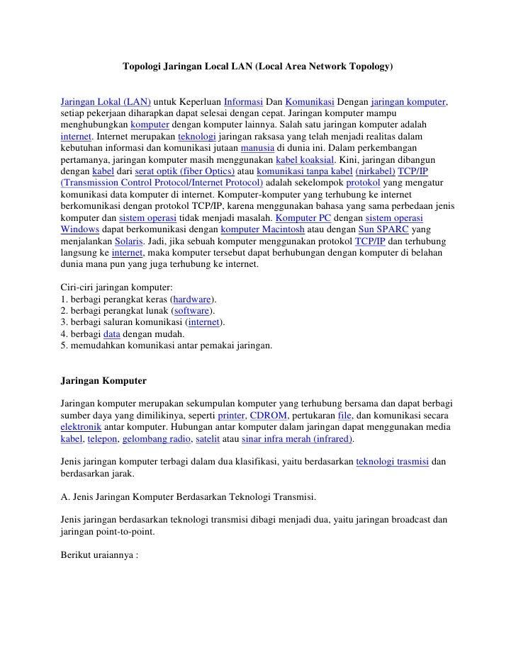 Topologi jaringan local lan
