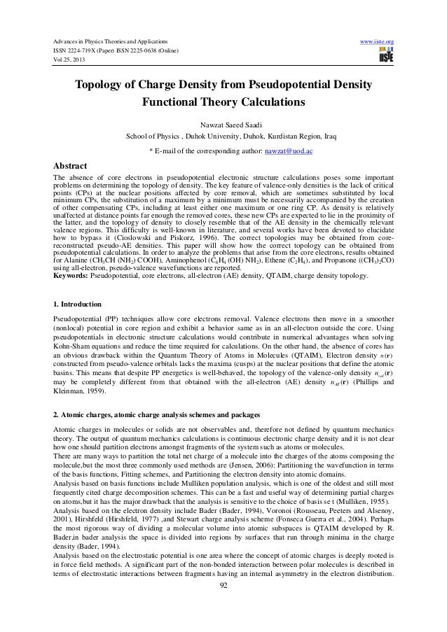Topology of charge density from pseudopotential density functional theory calculations