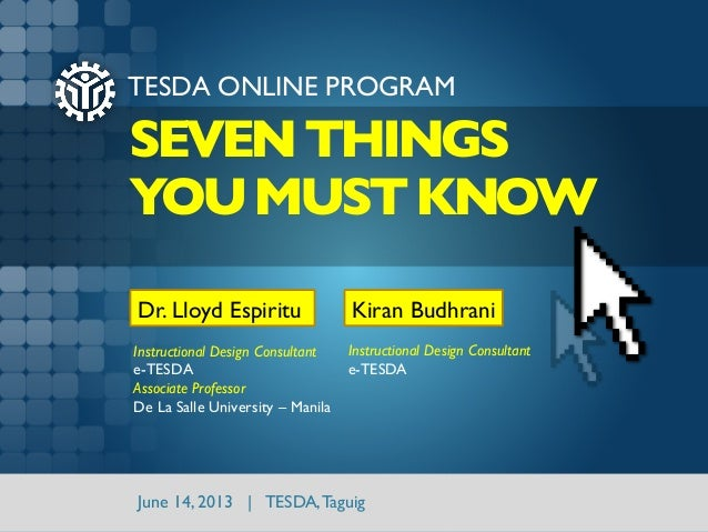 E-TESDA Online Program: Seven Things You Must Know