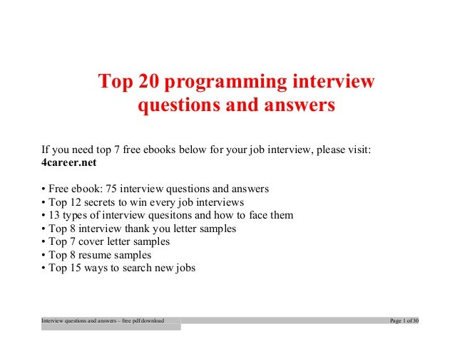 Top programming interview questions and answers job interview tips