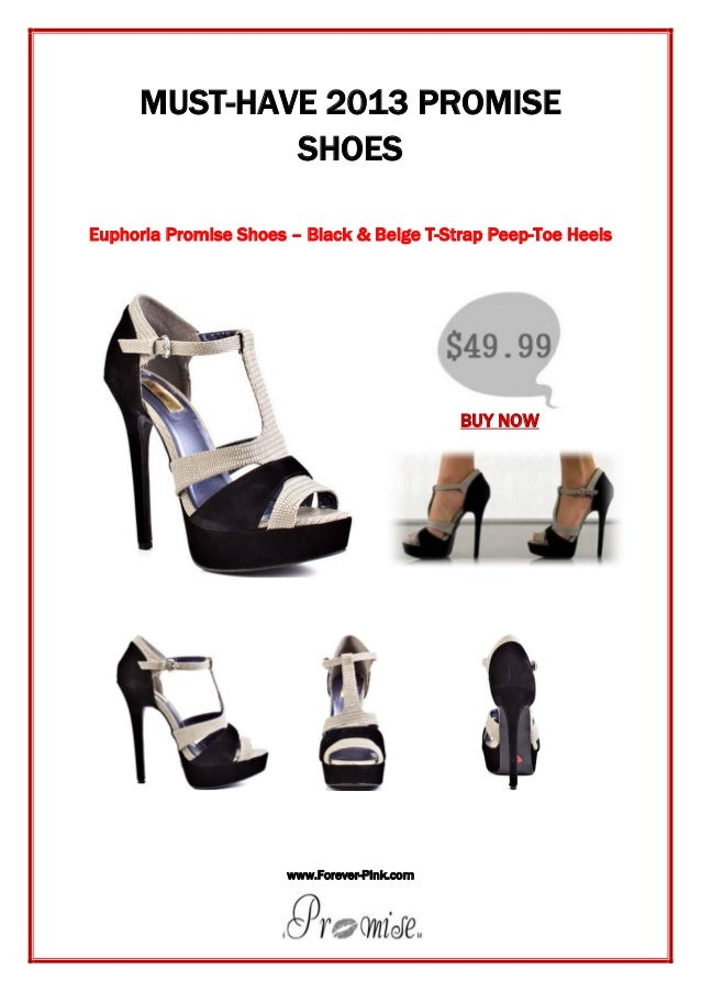 www.Forever-Pink.com MUST-HAVE 2013 PROMISE SHOES Euphoria Promise Shoes – Black & Beige T-Strap Peep-Toe Heels BUY NOW