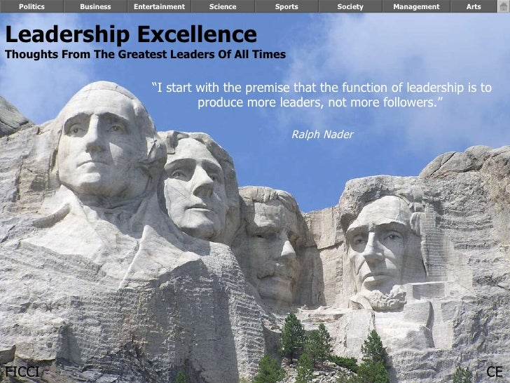 Leadership Excellence Thoughts From The Greatest Leaders Of All Times   Politics Business Entertainment Science Sports Soc...