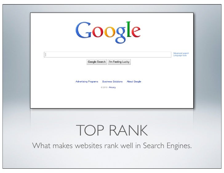 TOP RANKWhat makes websites rank well in Search Engines.