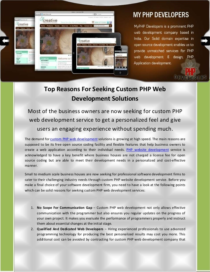 Top Reasons For Seeking Custom PHP Web Development Solutions