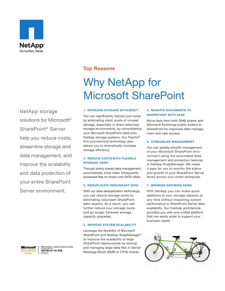 Why NetApp for Microsoft SharePoint