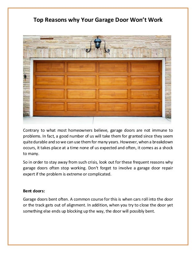 Top reasons why your garage door won t work - Reasons inspect garage door ...