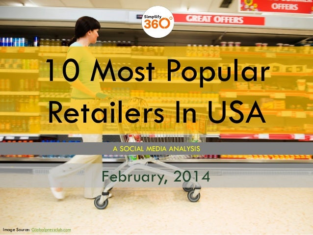 10 Most Popular Retailers In USA A SOCIAL MEDIA ANALYSIS  February, 2014 Image Source: Globalpressclub.com