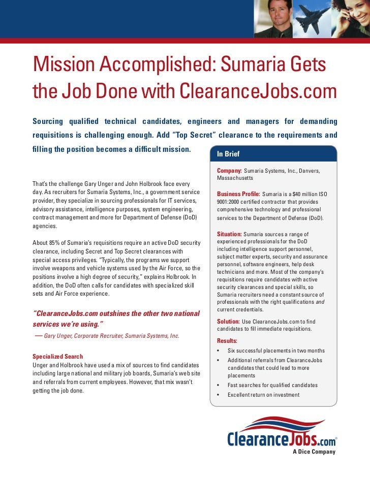 Mission Accomplished: Sumaria Getsthe Job Done with ClearanceJobs.comSourcing qualified technical candidates, engineers an...