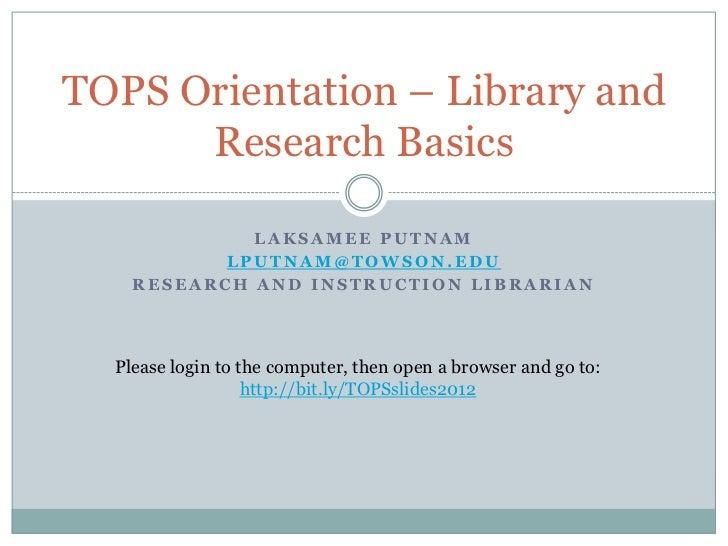 TOPS - Orientation 2012